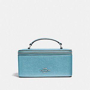 Coach Metallic Blue Vanity Cosmetic or Travel Case